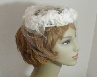 Vintage White Flowers Open Crown Hat with Veil - Wedding