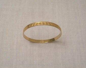 Vintage Gold Tone Engraved Bangle Bracelet
