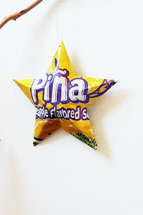 Piña Pineapple Soda Star Ornament Can Upcycled Yellow