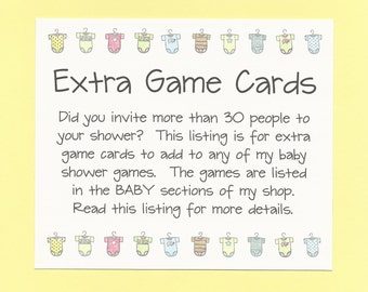 Extra Baby Shower Game Cards - Need More Game Cards for Your Baby Shower Games? - Add to your cart with Baby Shower Games for extra cards