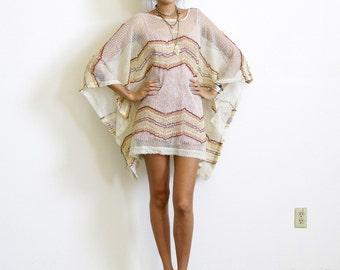 Crochet Dress / Angel Sleeve Dress / Chevron Stripe Sheer Dress