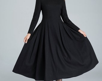 long black dress, wool dress, winter dress, pleated dress, handmade dress, ladies dresses, full lining dress, party dress,classic dress 1614