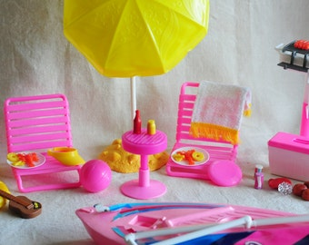 Barbie Malibu beach party playset, barbie accessory, party diorama, includes boat