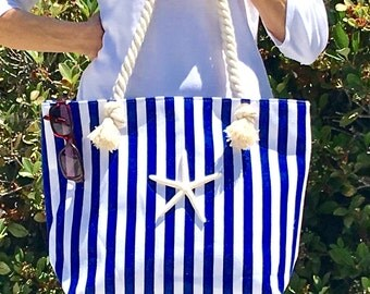 Beach Bag - Large Blue and White Striped Canvas Tote Bag with Natural Starfish - Nautical-Summer Tote-Beach Tote-beach bridesmaid gift