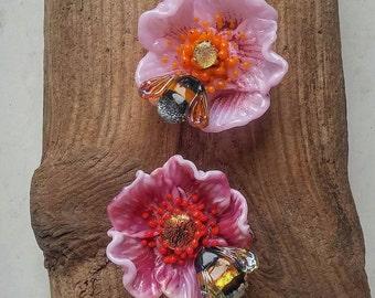 "Lampwork Video Tutorial ""Bumblebee on Dogrose"""