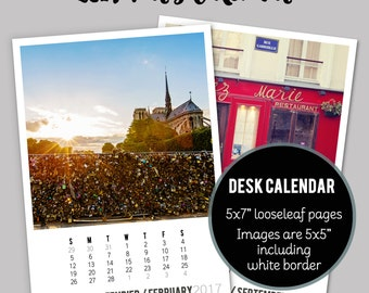 CLEARANCE SALE 2017 Paris Photo Calendar, 2017 France Desk Calendar, Paris Decor, 2017 Calendar - Loose-leaf Paper Goods Desk Calendar (5x7)
