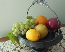 Silverplate Bride's Basket Pairpoint Quadruple Plate Compote Fruit Basket 1800s
