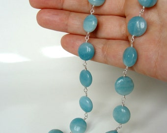 Sky blue amazonite necklace, genuine gemstones Argentium and sterling silver natural stones, handmade, Let Loose Jewelry, under 100