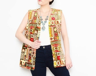 60s 70s Tapestry Vest 1970s Ethnic Chenille Vest Mosaic Carpet Boho Hippie Long Vest Small Medium S M