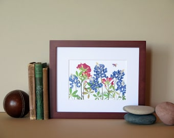 "Pressed flower print, 8"" x 10"" matted, Bluebonnets and Indian Paintbrush, Texas wildflowers, botanical art no. 051"