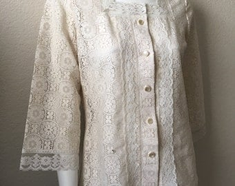 Vintage Women's 70's Boho, Lace Blouse, 3/4 Sleeve by Tumbleweeds (M)
