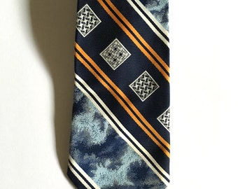 Vintage Neckties Men's 70's Clip On Tie, Navy Blue, Gold, Striped, Geometric Printed