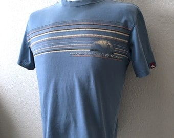 Vintage Men's 90's Quicksilver, Surf T Shirt, Blue, Short Sleeve (S)
