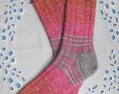 Pink Hand Knit Socks Women Medium Size, Pretty Pink Stripes