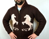 Vintage Cowichan Cardigan Zip Up Wool Sweater - Horses