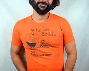 Vintage 1980s 80s Funny Orange Collectible Cartoon SEATTLE TRAFFIC Tee Shirt Tshirt