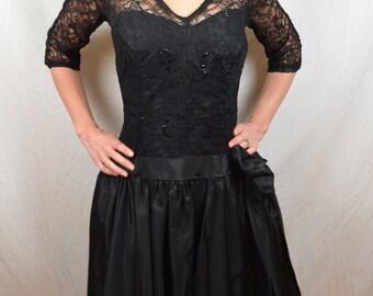 Vintage Cocktail Evening Lace Sequin Formal Cocktail Black Drop Waist Dress