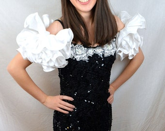 Vintage 80s Black Sequin Mini Fitted BIG 1980s Poof Party Dress