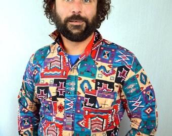 Vintage Rainbow Striped Geometric Southwest 90s Wind Roper Shirt