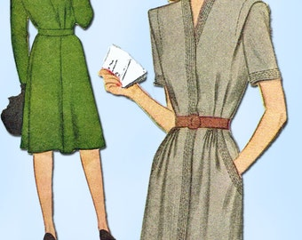 1940s Vintage McCall Sewing Pattern 5727 Uncut WWII Women's Dress Size 20 38B