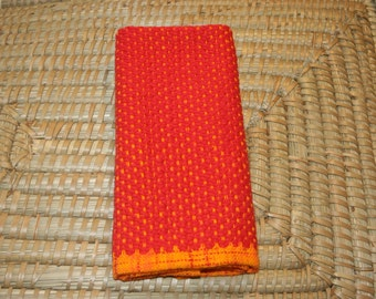 Red Handwoven Towel - Hand Woven Kitchen Towel in Red - Red Cotton Hand Towel