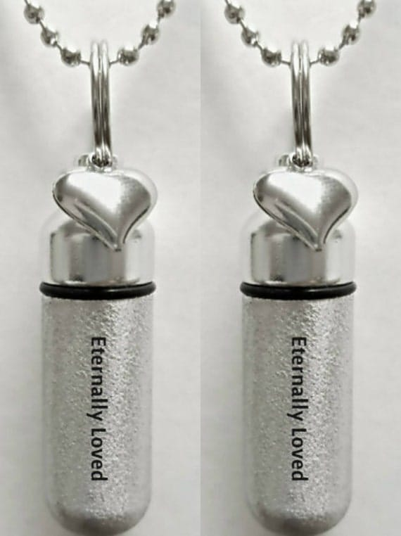 "Set of 2 ENGRAVED Brushed Silver CREMATION URN Necklaces ""Eternally Loved"" with Heart charm - Includes Velvet Pouches & Fill-Kit"