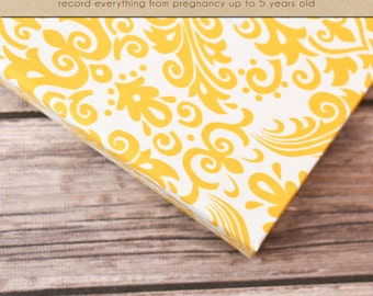 Baby  Book (Pregnancy - 5 Years) - Yellow Damask (136 designed journaling pages & personalization included with album)