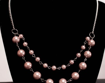 Pink Pearl multi strand necklace - silver tone