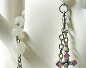 Decade rosary bracelet in natural rose quartz - RB08-019 - Miraculous Medal - 50 % OFF