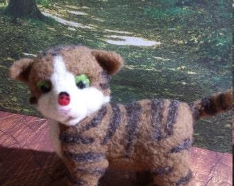 Cat Kitten Needle Felted Brown Tabby Kitten with Ladybug