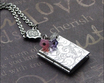 Silver Book Locket Necklace - Enchanted Love Garden - Locket Jewelry - Photo Locket - Flower Locket - Wedding Christmas Bridesmaid Gift