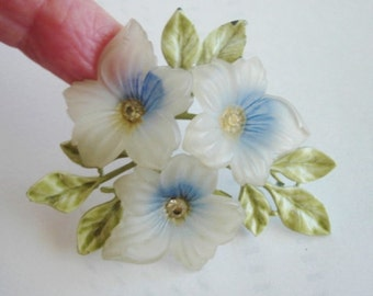 Lucite Flowers Multi Color Brooch