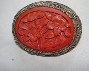 Silver Red Cinnabar from China Vintage Jewelry  Brooch
