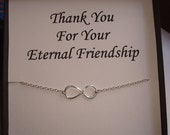 Infinity Sterling Silver Necklace ~~Personalized Jewelry Gift Card for Friend, Best Friend, Sister, Bridal Party, Mom, Family, Weddings