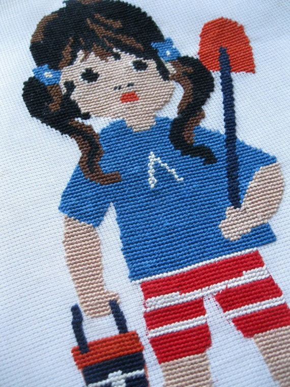 Needlepoint, Child, Vintage Nursery, Wall Hanging, Girl, Child's Room,Cutter Fabric,   by mailordervintage on etsy