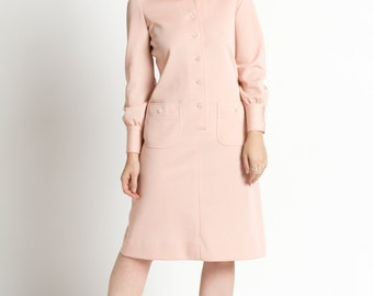 Vintage 60s Blush Pink Mod Shift Midi Button Front Dress | M