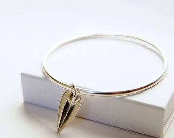 Silver Heart Bangle | 3D Geometric Star Bracelet | Heart Charm Bangle | Valentine Gift | Gift for Her | Romantic Jewelry | Handmade UK