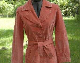 1960s Orange-Peach  Faux Suede Coat Ultra Suede Princess Cut Late 60's Petite Size