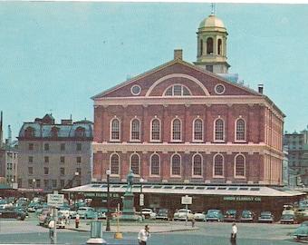 "Vintage Postcard - Boston Faneuil Hall - 1940s Lusterchrome view of ""old"" Boston"