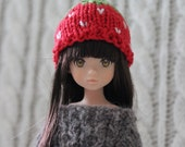 Cute Strawberry hat for Ruruko, Momoko, Barbie or other small headed doll