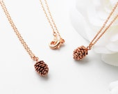 Antiqued Rose Gold Pine Cone Necklace Simple Dainty Woodland Jewelry