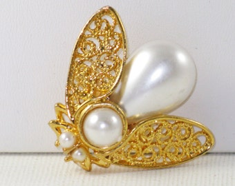 Vintage Gold Tone White Faux Pearl Insect Bee Brooch Pin (B-1-6)