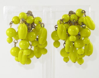 Vintage Yellow Glass Cha Cha Dangling Earrings (E-2-4)