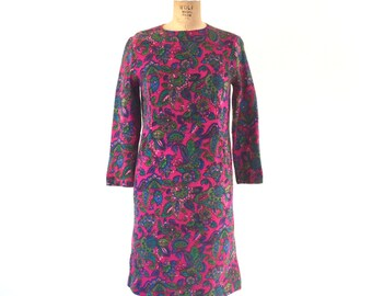 1960s Mod Paisley Floral Print Dress Vintage Sixties Pink Magenta Wool Sheath Dress XS/S