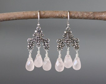 Rose Quartz Earrings - Silver Chandelier Earrings - Bali Silver Earrings - Wire Wrapped Earrings - Pink Gemstone Earrings - Jewelry Gift