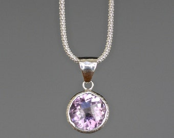 Amethyst Necklace - Bali Silver Necklace - Amethyst Pendant - Bali Silver Pendant - February Birthstone - Purple Gemstone - Gift for Her