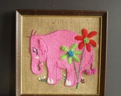 Elephant Yarn - Vintage Crewel Pink Elephant Art for Your Wall