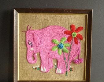 Elephant Yarn - Vintage Crewel Pink Elephant Art for Your Wall
