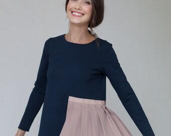 Blue blouse   Designer blouse   Unique blouse   LeMuse blue blouse