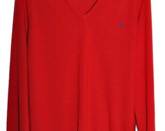 Vintage CHRISTIAN DIOR V Neck Sweater Red Butter Soft Orlon Mens L XL Boyfriend Fit